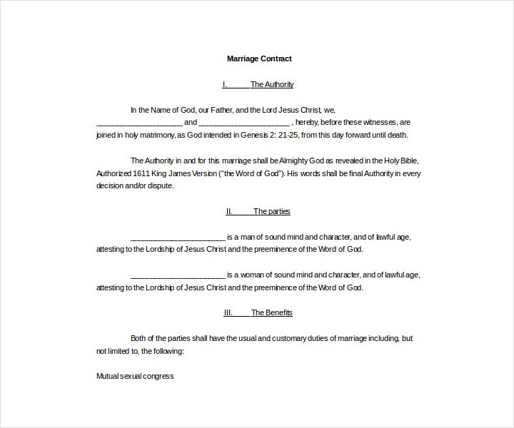 Legal Wedding Contract Template for Free
