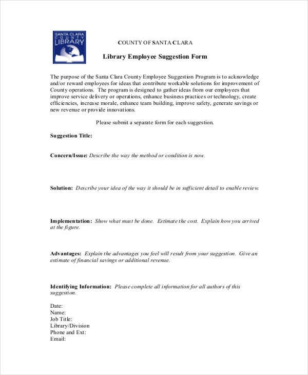 library-employee-suggestion-form