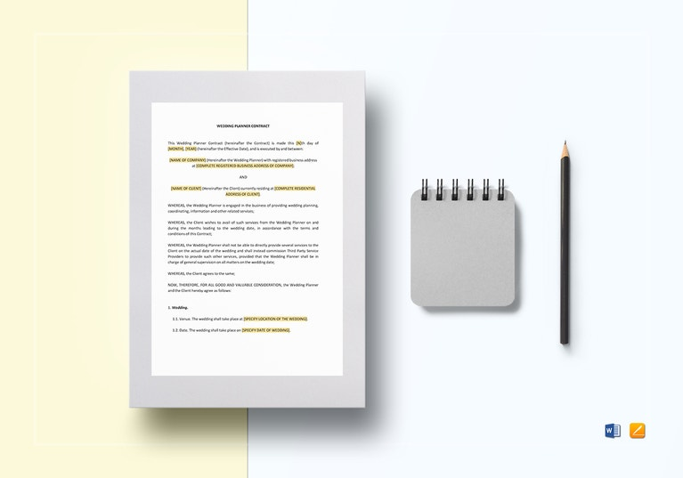 MS Word Wedding Planner Contract