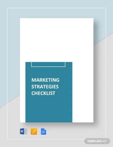 marketing strategies checklist template