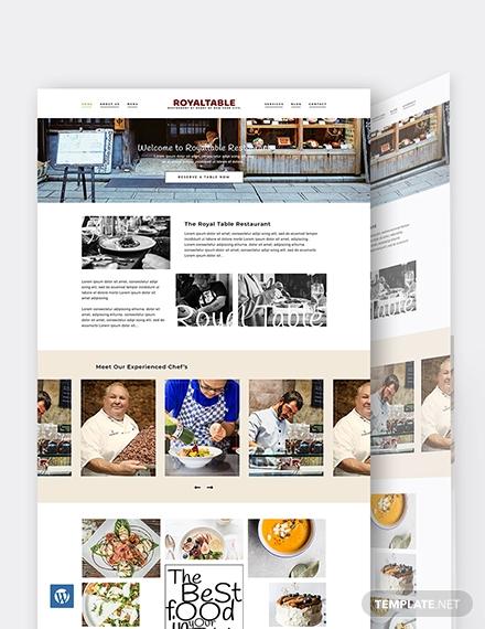 minimal restaurant wordpress theme