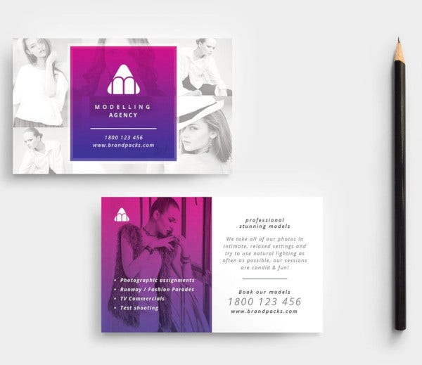 modelling agency business card