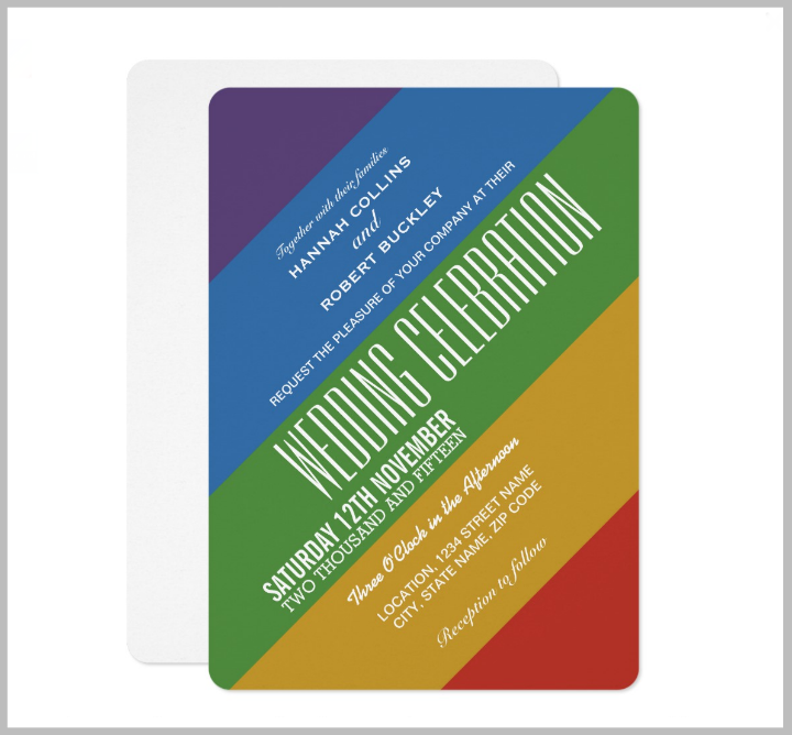 modern rainbow gay pride wedding invitation template