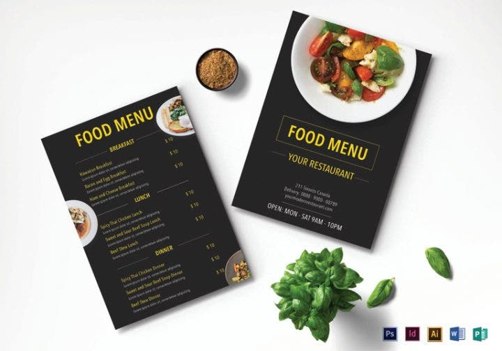 Seafood Menu Designs Editable PSD AI InDesign Format Download - Menu mockup template