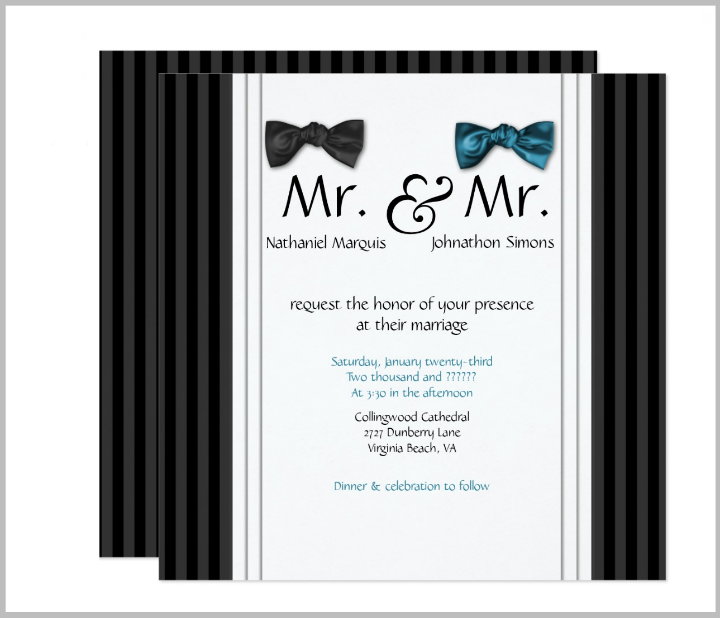 mr mr bow ties pin striped gay wedding invitation template