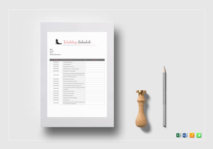 multi format wedding schedule template