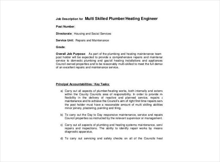 multi skilled plumber job description