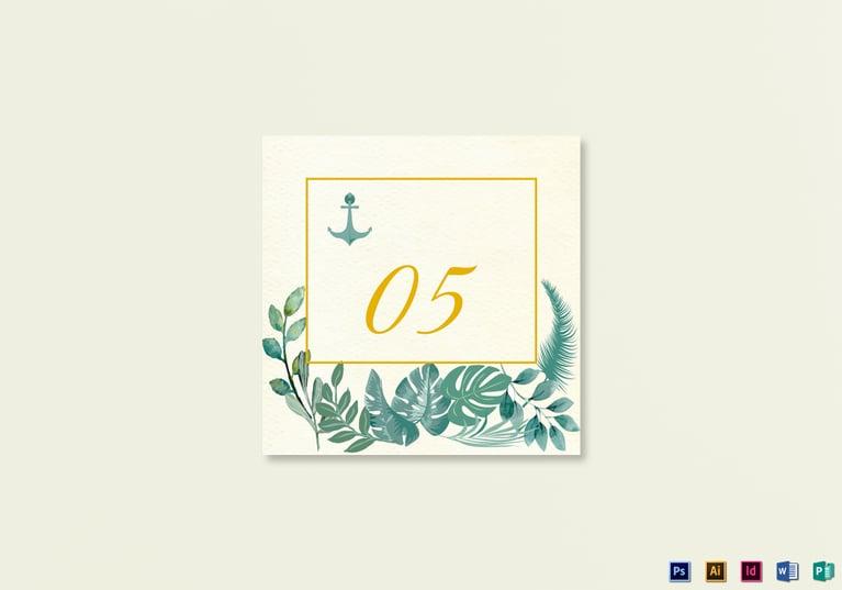nautical wedding table card template