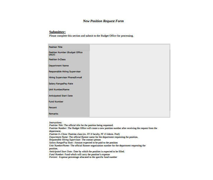 9+ Position Request Forms & Templates - PDF, DOC, Excel | Free