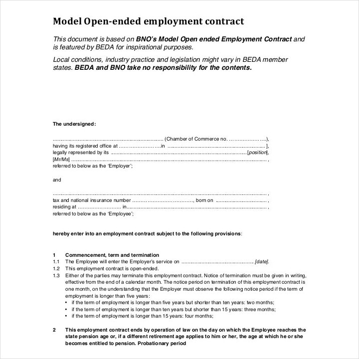 Open Ended Employment Contract Template