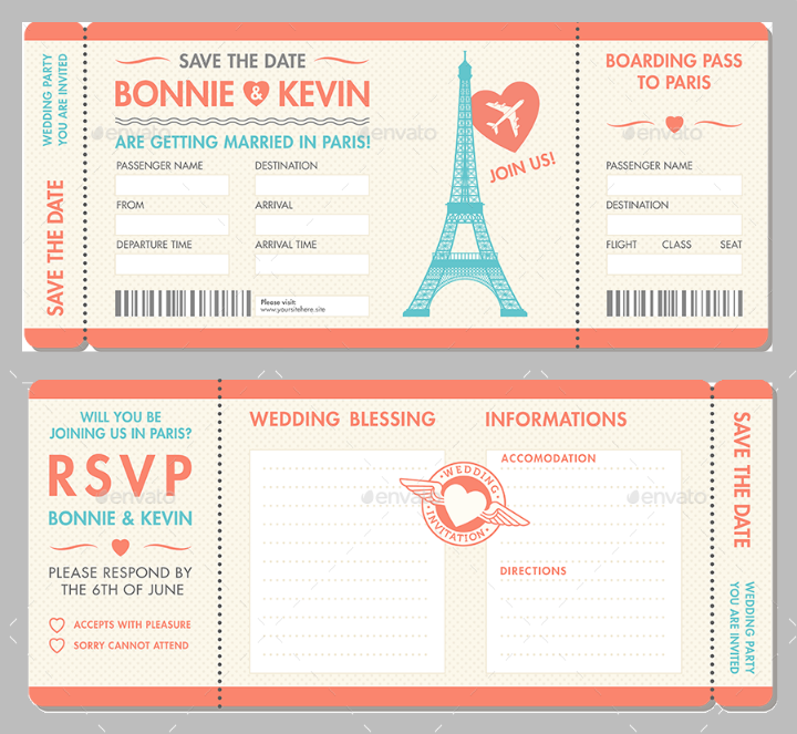 Paris Wedding Blank Invitation And Rsvp Ticket Template