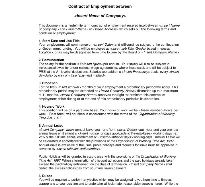Part-Time Cleaning Employment Contract Template