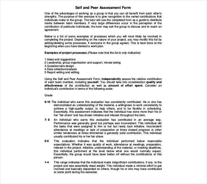 Peer and Self-assessment Form