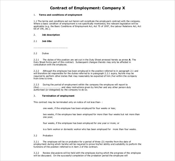 permanent cleaning employment contract