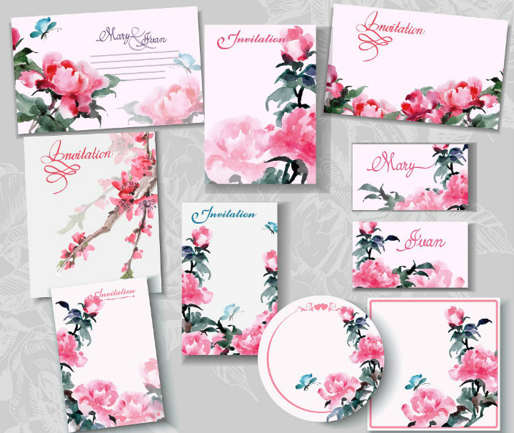 pink-floral-blank-wedding-templates