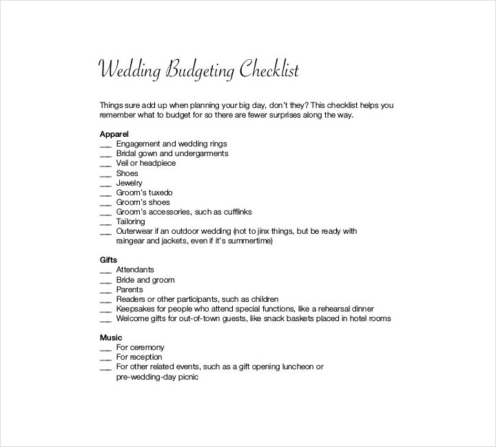 planed wedding budget checklist template