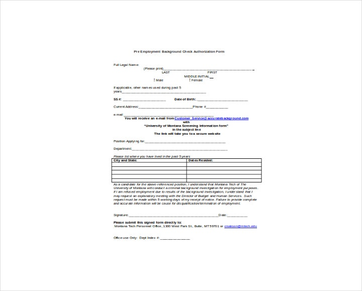 Pre-employment Background Check Authorization Form