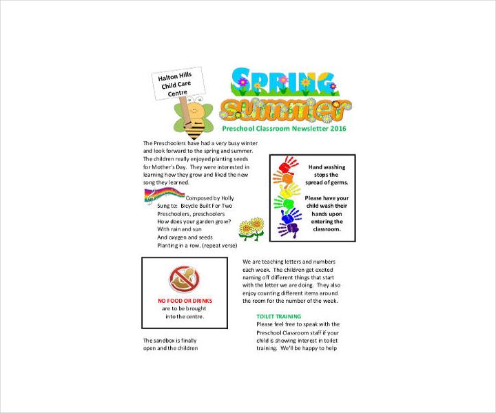 Preschool Classroom Newsletter Template