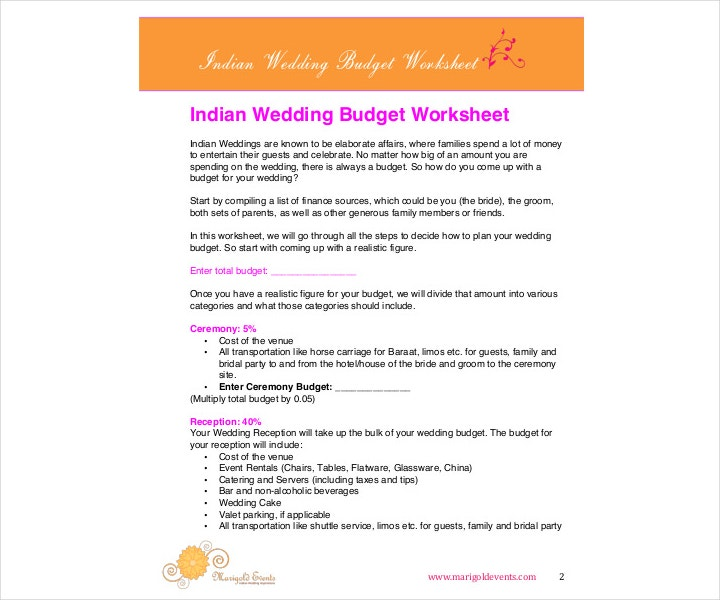 9 wedding budget worksheet templates pdf doc free premium templates. Black Bedroom Furniture Sets. Home Design Ideas