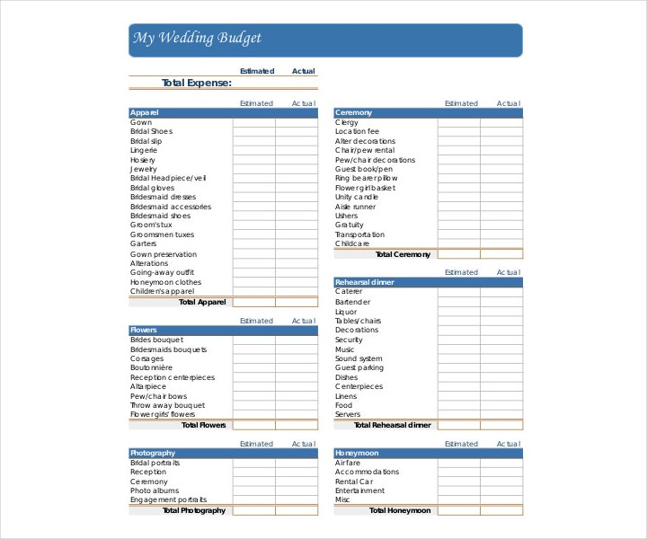 Printable Wedding Budget Template
