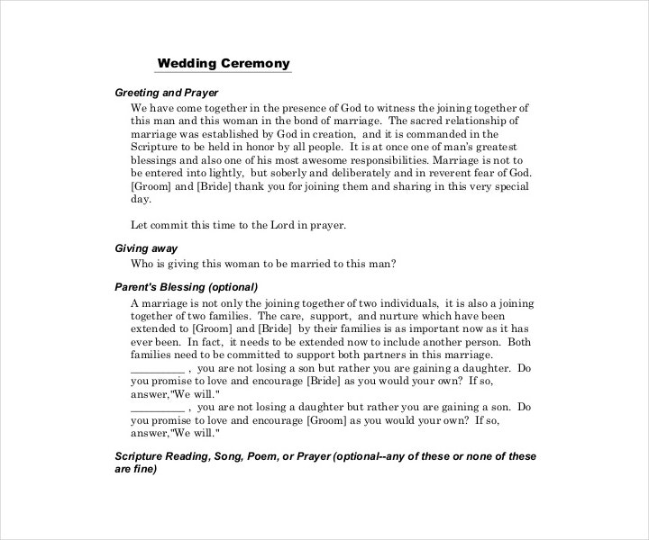 printable wedding ceremony template