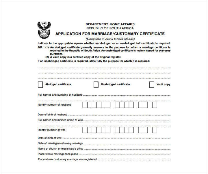 Printable Wedding Contract Certificate Template