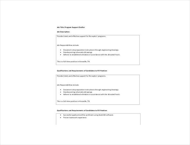 program support drafter job description