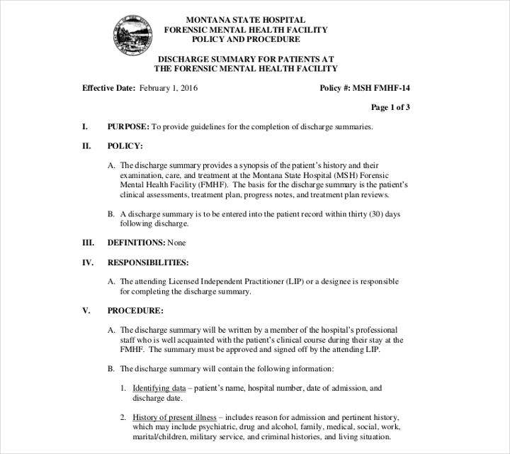 Psychiatric Facility Discharge Summary Template