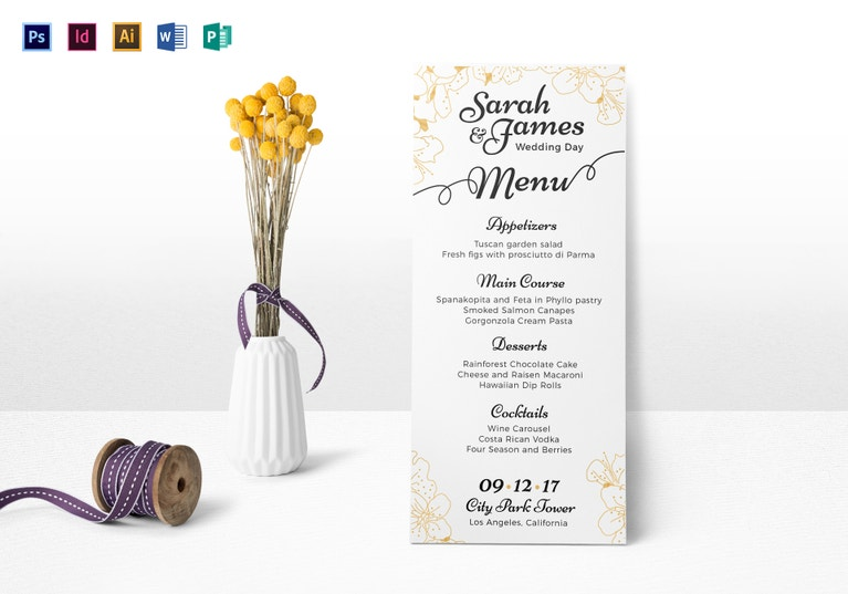 reception wedding menu template
