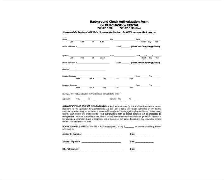 Rental Background Check Authorization Form in PDF