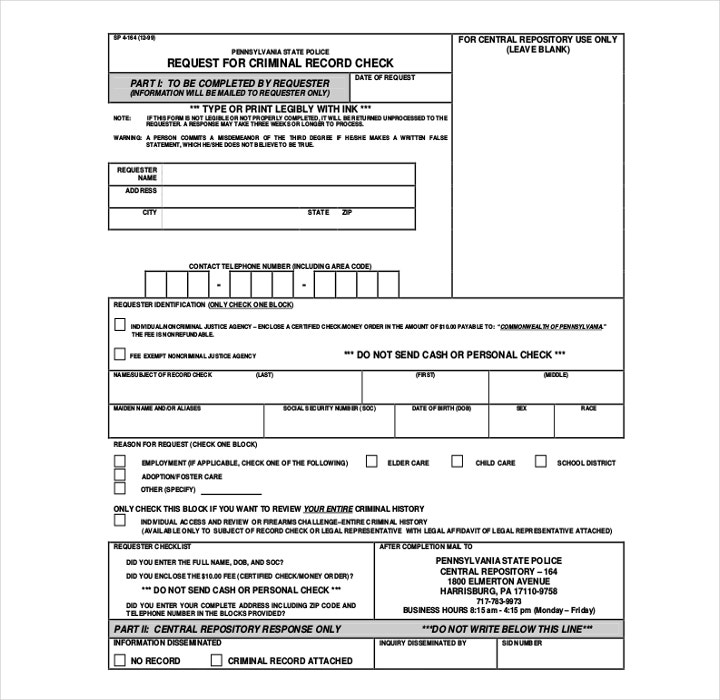 Request for Criminal Record Check Form