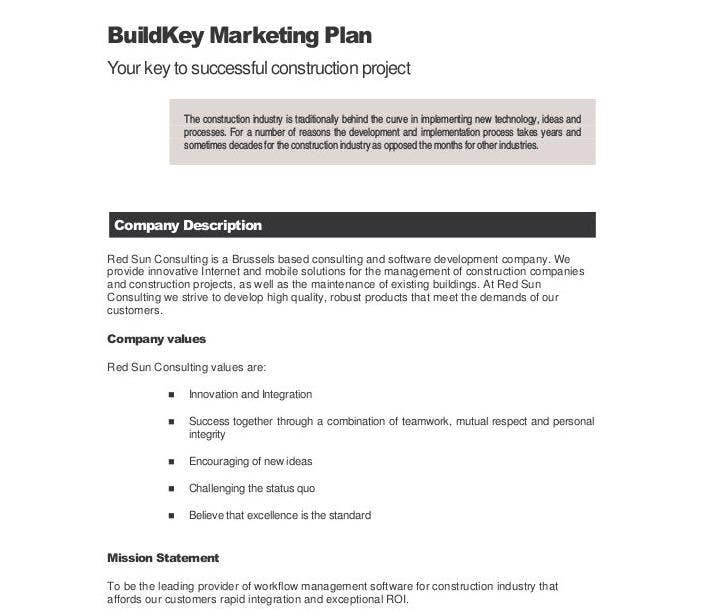 residential construction marketing plan