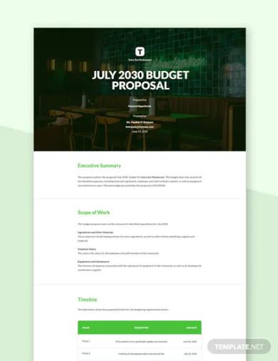 restaurant budget proposal template1