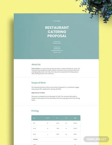 restaurant catering proposal template1
