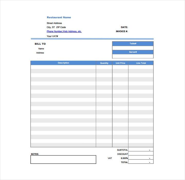 restaurant dining invoice receipt