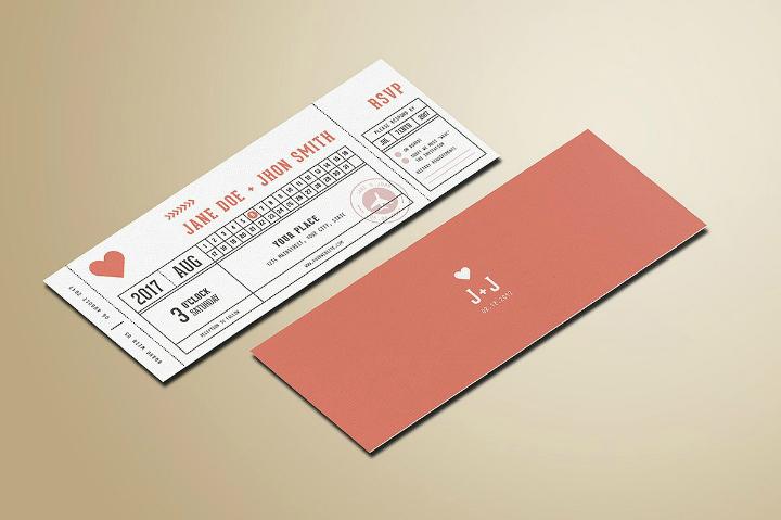 rose gold destination wedding invitation ticket