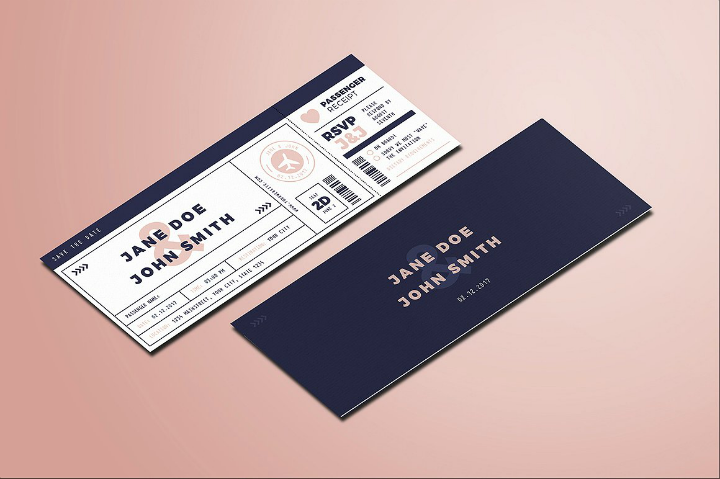 royal blue ticket destination wedding invitation template