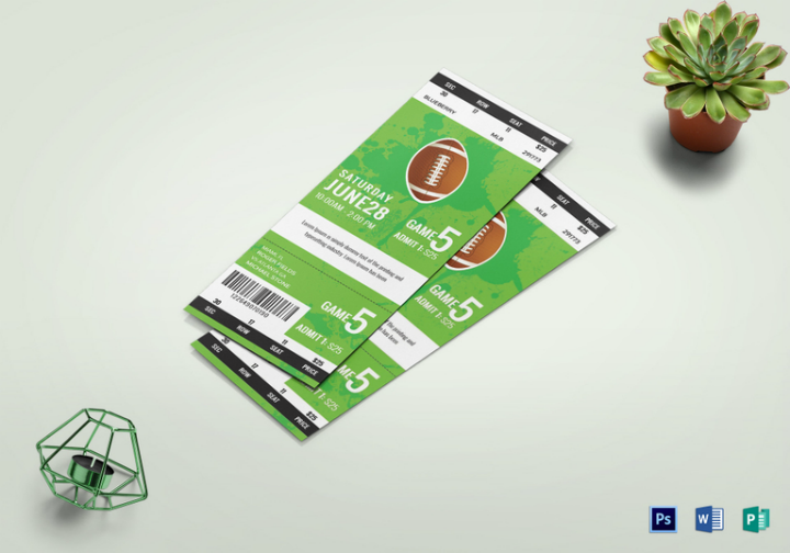 rugby game ticket template psd