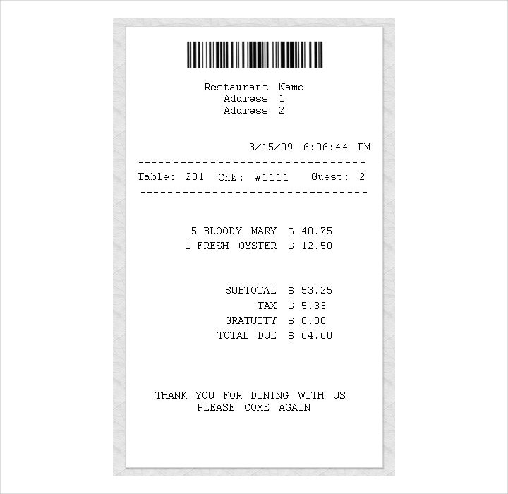 Restaurant Receipts Template Ukrandiffusion