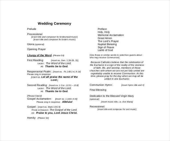 9 wedding ceremony templates free pdf doc indesign for Wedding processional order template