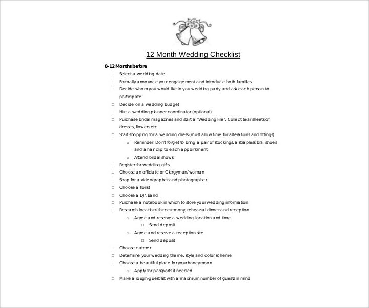 sample wedding checklist template pdf format