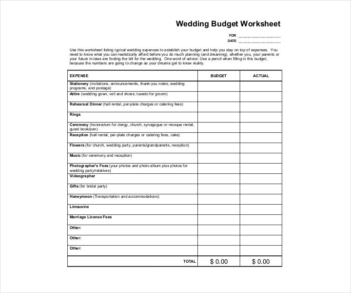 Sample Wedding Worksheet PDF