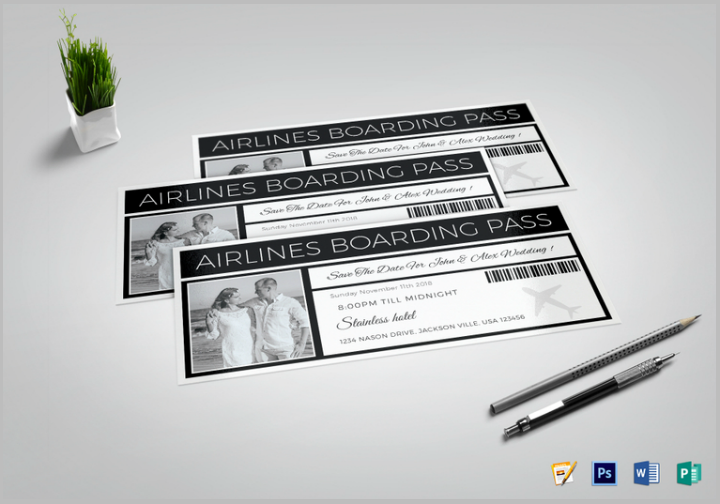 save the date boarding pass ticket psd template