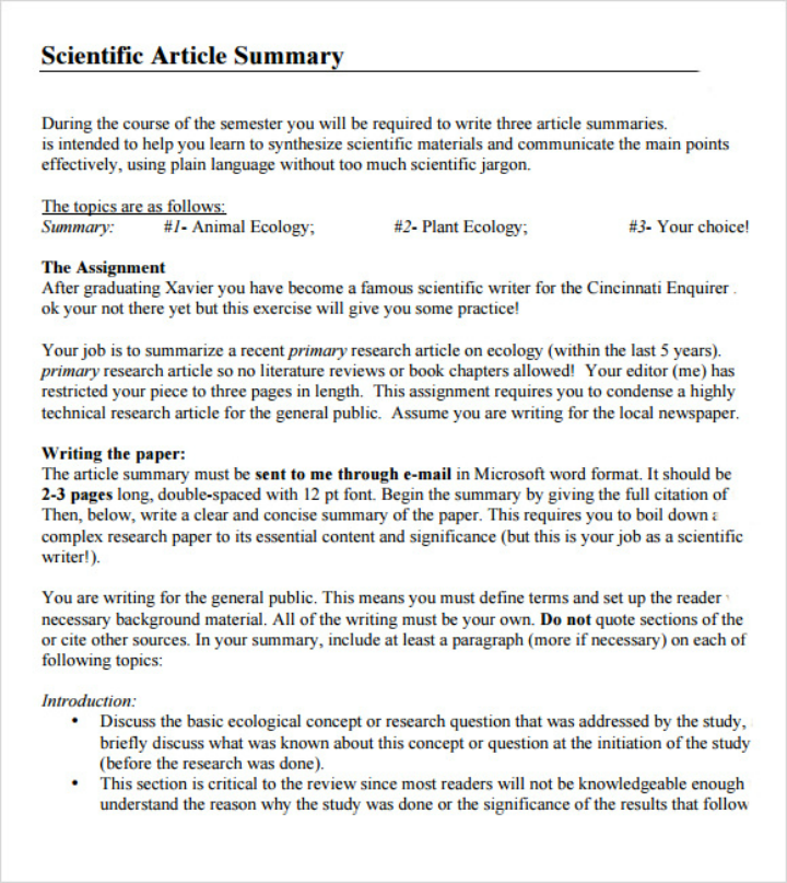 science article summary template 9 article summary templates pdf doc free premium