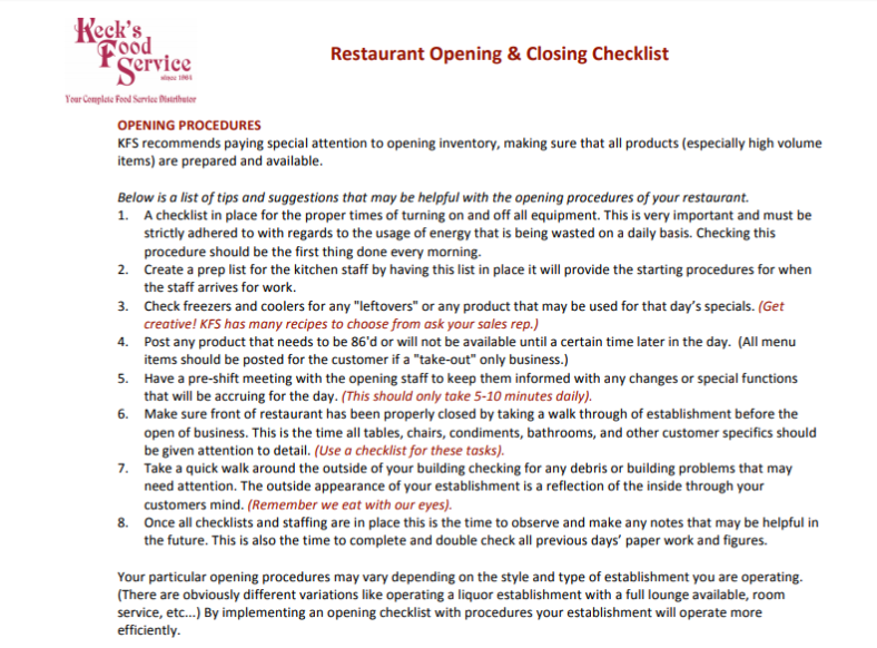 10  checklist for starting up a restaurant