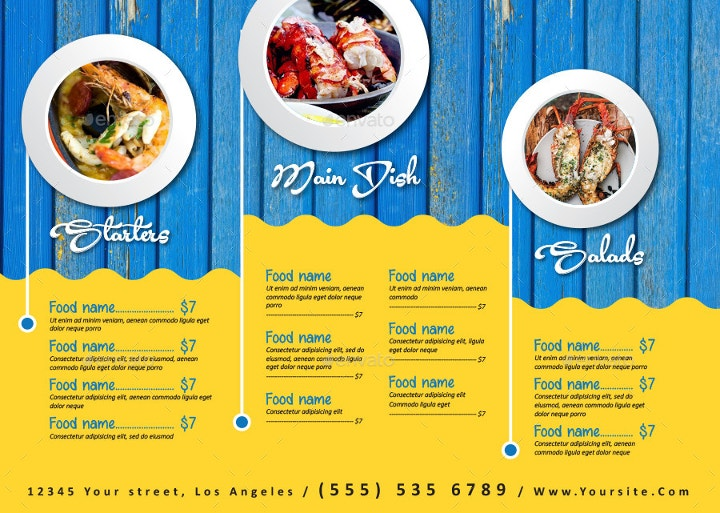 Seafood Restaurant Menu Template