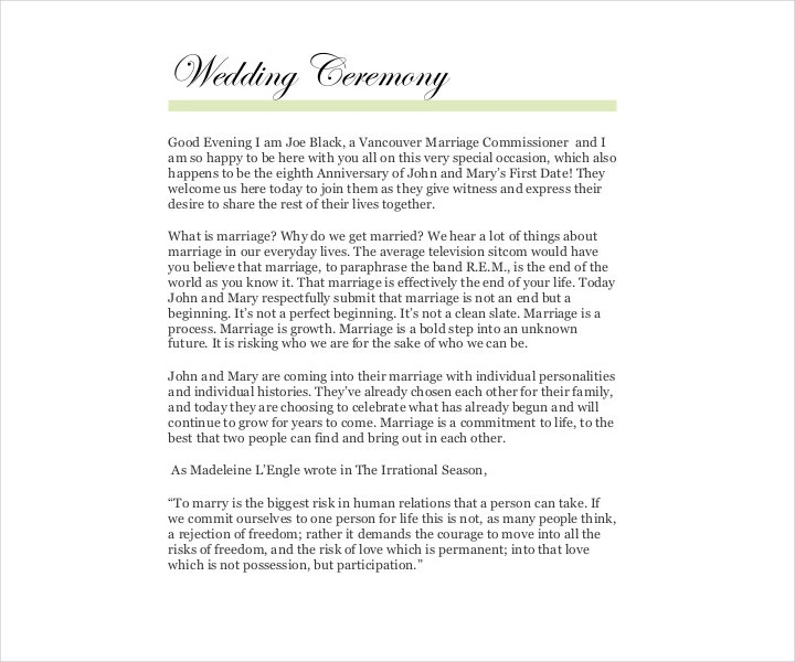 simple wedding ceremony template