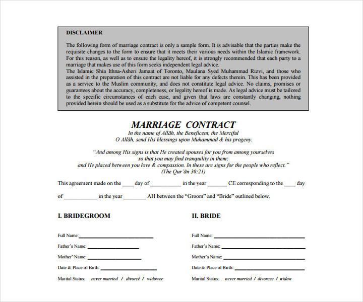 18  wedding contract templates