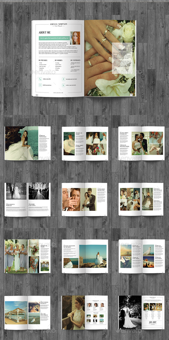 simple wedding photography brochure template