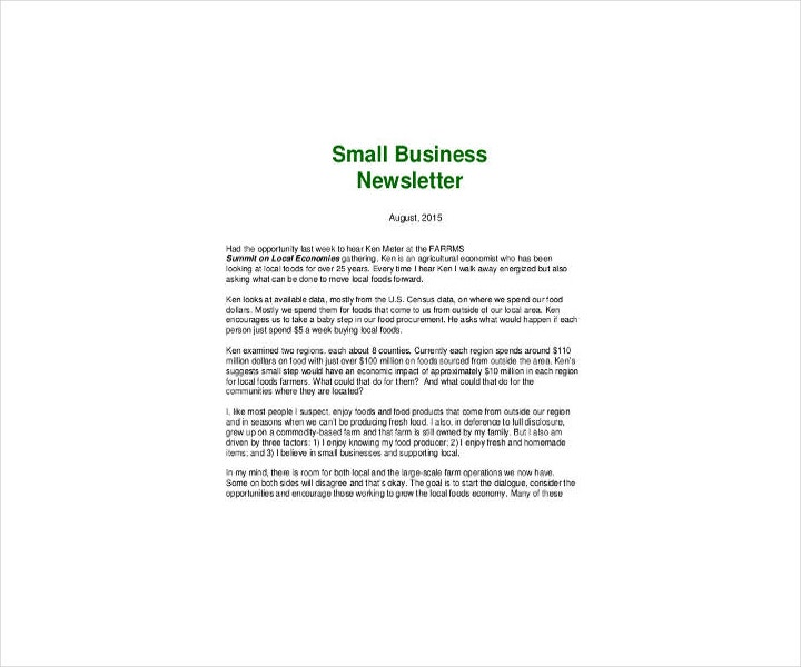 small business newsletter